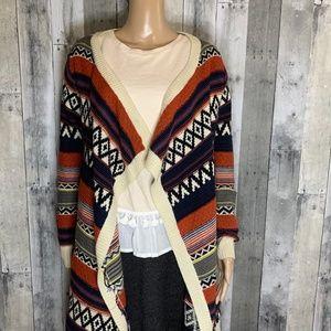 Windsor Intarsia Knit Open Long Sleeve Cardigan